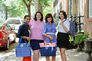 Me on photo shoot with some amazing moms modeling Sarah Wells breast pump bags
